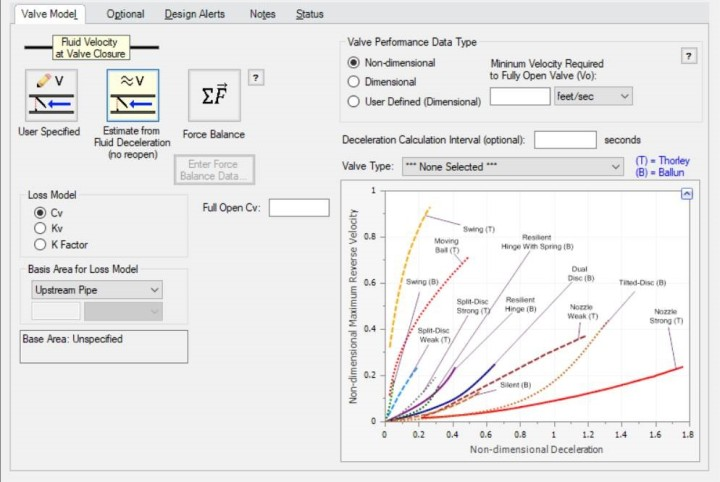 Check valve- Increased user flexibility with defining equipment such as with the added valve performance data type options and additional predefined data sets